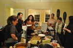 Cookbook group members discussing our dishes