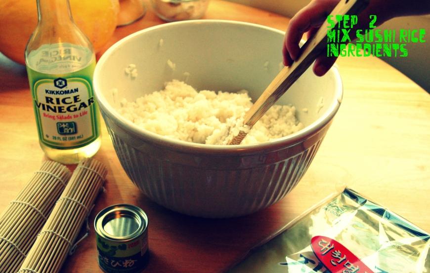 Mixing sushi rice