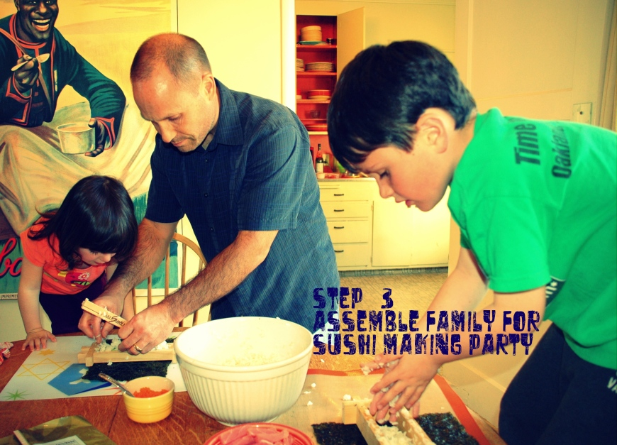 Family assembling sushi together