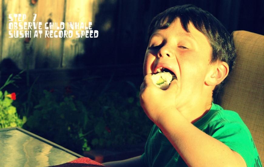 Caleb inhales sushi