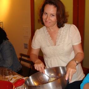 Sarah following recipe