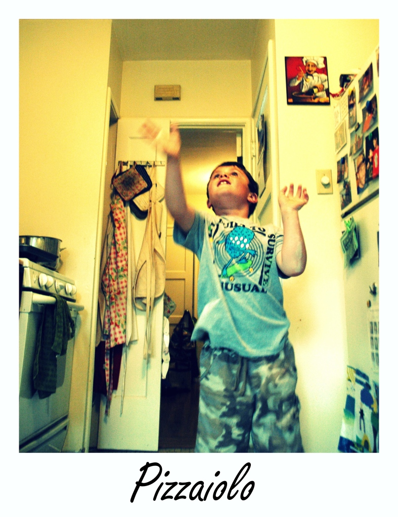 Caleb throwing dough in the air